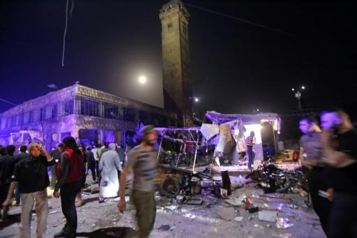 The market in northwest Syria was crowded with people during the Muslim holy month of Ramadan when the air strike happened