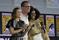 """""""WandaVision,"""" which stars (L-R) Elizabeth Olsen, Paul Bettany and Teyonah Parris, is a strong Emmys contender"""