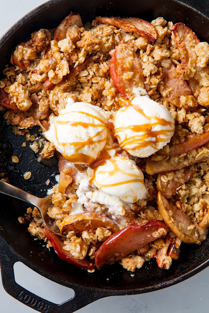 """<p>Okay, it's not the <em>healthiest </em>dessert ever, but there are lots of apples inside! </p><p>Get the recipe from <a href=""""https://www.delish.com/cooking/recipe-ideas/a21581218/best-apple-crisp-recipe/"""" rel=""""nofollow noopener"""" target=""""_blank"""" data-ylk=""""slk:Delish"""" class=""""link rapid-noclick-resp"""">Delish</a>.</p>"""