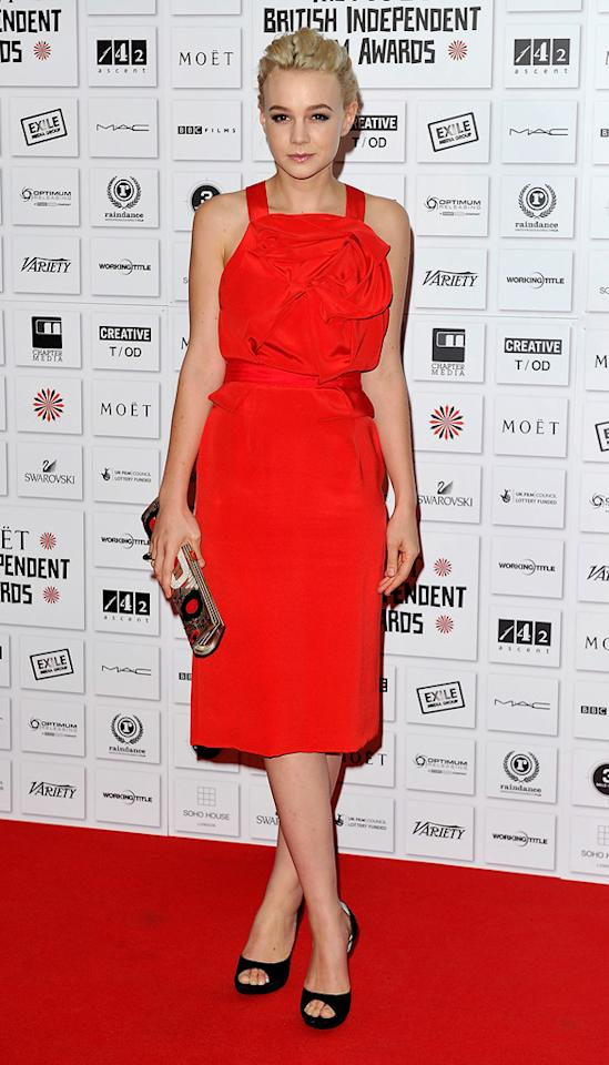 """<a href=""""http://movies.yahoo.com/movie/contributor/1808686699"""">Carey Mulligan</a> attends the Moet British Independent Film Awards on December 5, 2010."""