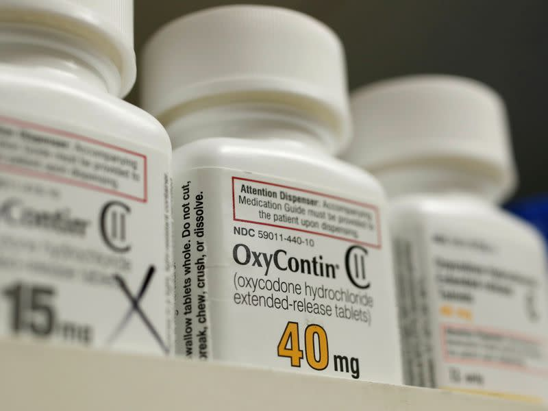 FILE PHOTO: Bottles of prescription painkiller OxyContin, 40mg pills, made by Purdue Pharma L.D. sit on a shelf at a local pharmacy in Provo