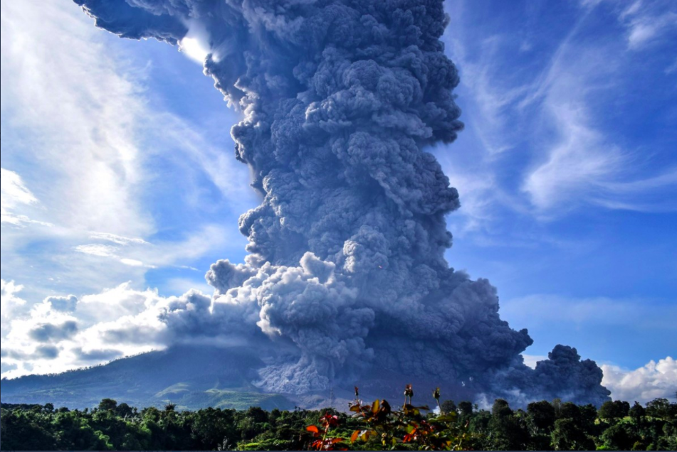 The ash reportedly rose from the peak of the 2,460-metre (8,071-ft) mountain in Karo, North Sumatra.
