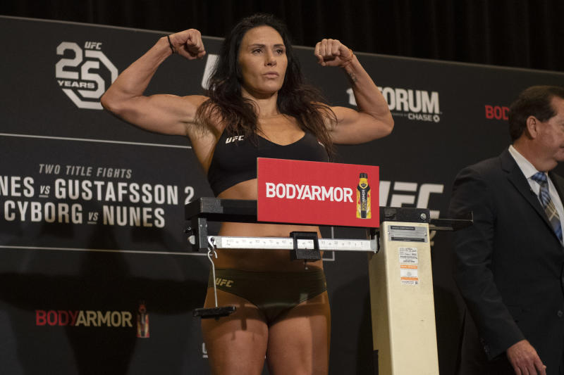 LOS ANGELES, CA - DECEMBER 28: Cat Zingano weighs in at 144 pounds during UFC 232 official weigh-ins at Los Angeles Airport Marriott in Los Angeles, Friday, Dec 28, 2018. (Photo by Hans Gutknecht/Digital First Media/Los Angeles Daily News via Getty Images)