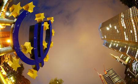 FILE PHOTO: The euro sign landmark is seen at the headquarters of the European Central Bank (ECB) in Frankfurt