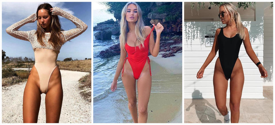 Tahlia Skaines, Indi Thew and Olivia Mathers pictured in super high cut swimsuits