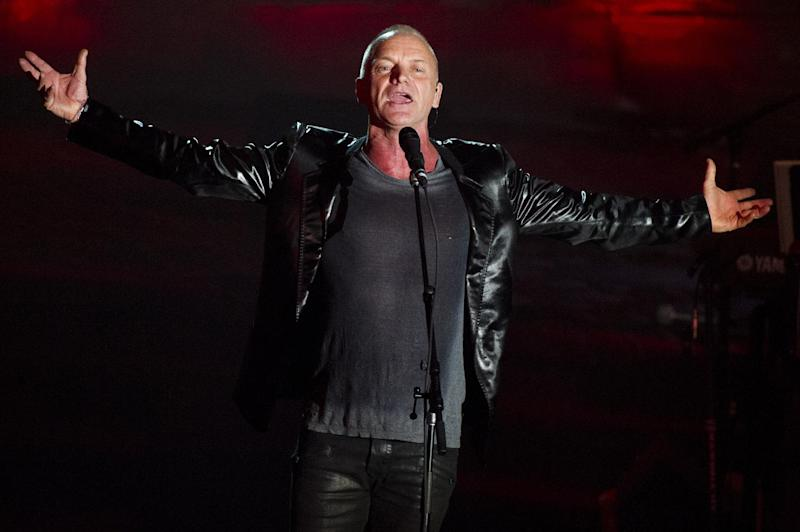 """FILE - This June 13, 2013 file photo, Sting performs at the Songwriters Hall of Fame 44th annual induction and awards gala in New York. Sting and Paul Simon are rehearsing for their upcoming tour, a couple of longtime friends and neighbors preparing to take turns singing some of each other's biggest hits. """"He's the master,"""" Sting said Monday, Jan. 20, 2014, by satellite from New York. """"If I ever wanted to emulate a literary and literate songwriter, then Paul Simon would be the person I would go to."""" (Photo by Charles Sykes/Invision/AP, File)"""