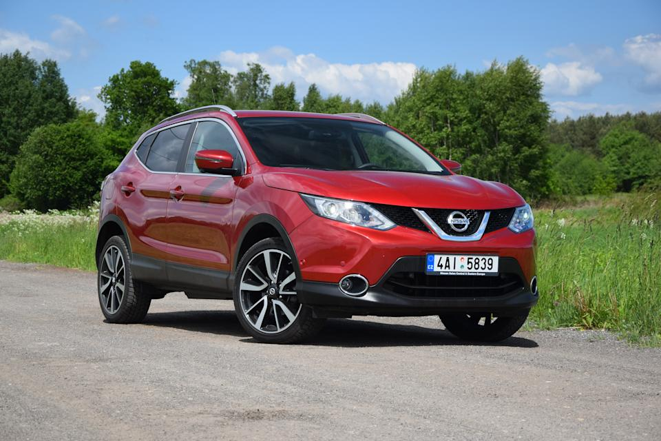 Halinow, Poland - May, 28th, 2015. Nissan crossover stopped on the unmade road. The second-generation of the Qashqai, the most important car for Nissan in Europe, was revealed in 2013. The Qashqai is available in versions: 1.2 DIG-T (115 HP) and 1.6 DIG-T (163 HP) petrol engines or 1.5 dCi (110 HP) and 1.6 dCi (130 HP) diesel engines. The all-wheel-drive system is available only in the strongest version.