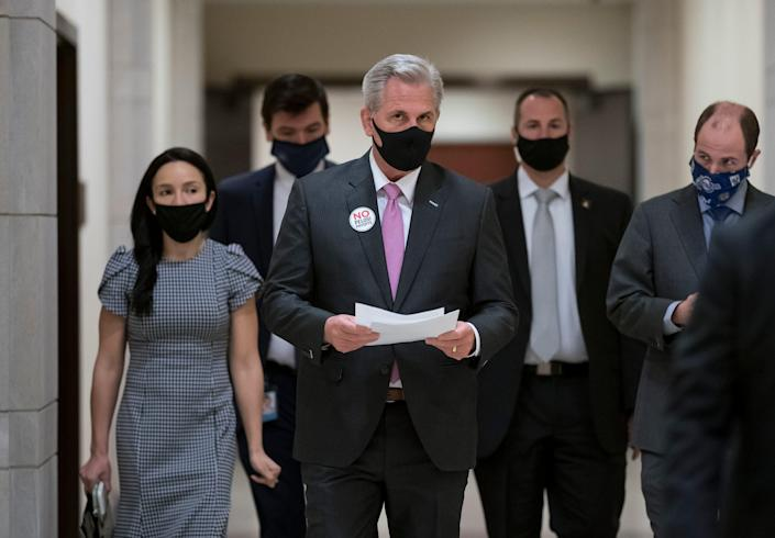 """House Minority Leader Kevin McCarthy, R-Calif., decries the Democratic $1.9 trillion COVID-19 relief package as """"a laundry list of left-wing priorities"""" unrelated to the pandemic."""