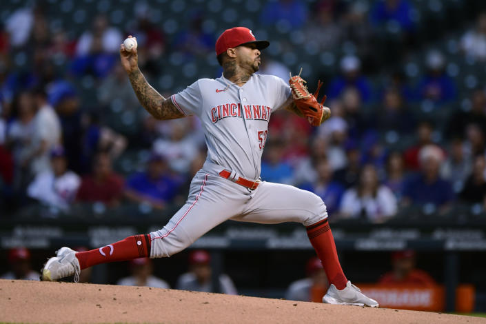 Cincinnati Reds starter Vladimir Gutierrez delivers a pitch during the first inning of the team's baseball game against the Chicago Cubs on Wednesday, Sept. 8, 2021, in Chicago. (AP Photo/Paul Beaty)