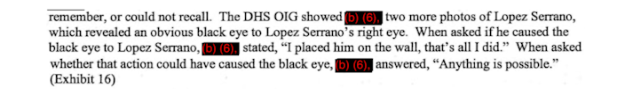 Text from a report shows the federal investigator's questioning of the agent involved in the incident with Lopez