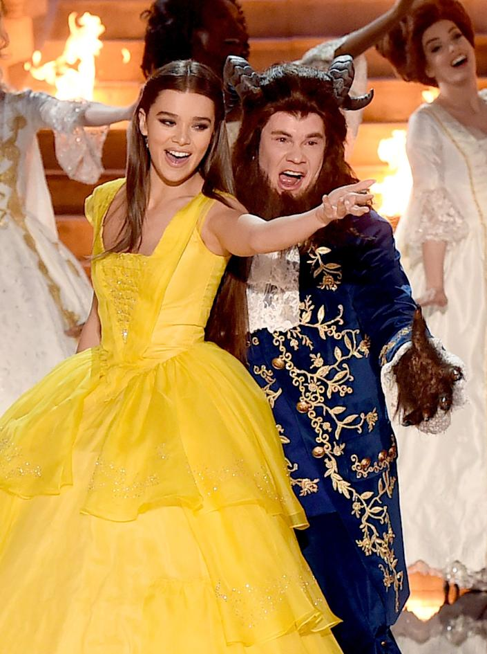 Host Adam DeVine and actor Hailee Steinfeld perform onstage during the 2017 MTV Movie And TV Awards at The Shrine Auditorium on May 7, 2017 in Los Angeles, California.
