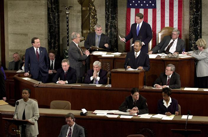 Rep. Cynthia McKinney, D-Ga., lower left, objects to Florida's electoral vote count results, which delivered a loss to Vice President Al Gore, standing, top center, at the U.S. House of Representatives on Jan. 6, 2001. Congress formally anointed George W. Bush as the victor in the previous year's achingly close and bitterly contested presidential election.