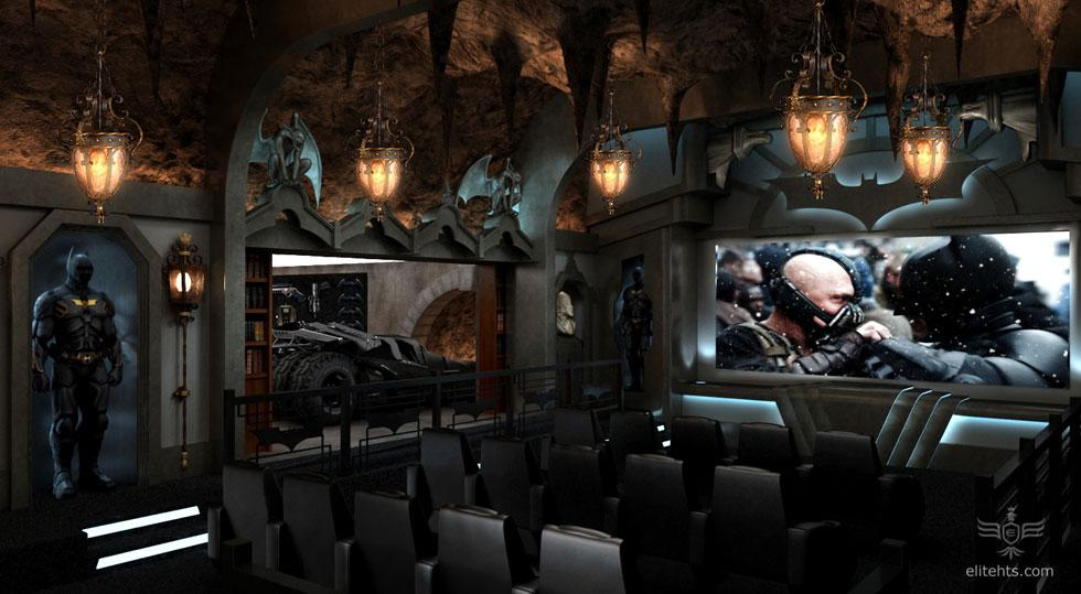 <b>'Dark Knight' Theater</b><br><br>To the Batmobile! In case you think  this photo is exactly the same as the first one, look more closely: The  bookshelves open to reveal a Batmobile in a hidden, secret room that  also has its own tunnel exit.