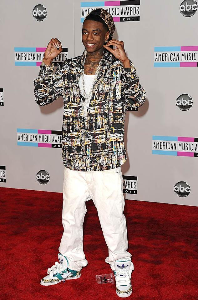 Rapper Soulja Boy arrives at the 2011 American Music Awards held at the Nokia Theatre L.A. LIVE. (11/20/2011)