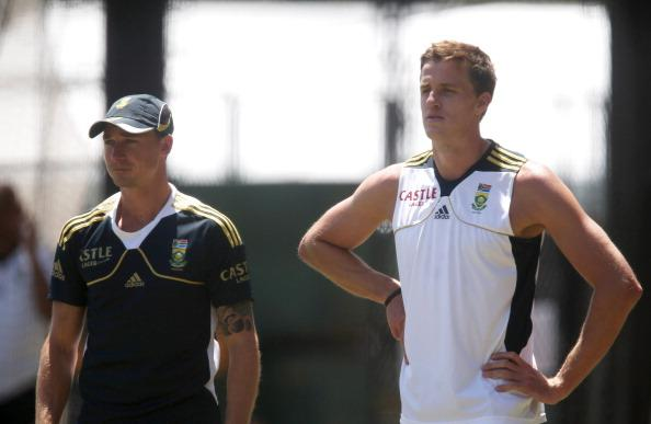 ADELAIDE, AUSTRALIA - NOVEMBER 20: Dale Steyn and Morne Morkel look on during a South African Proteas training session at Adelaide Oval on November 20, 2012 in Adelaide, Australia.  (Photo by Regi Varghese/Getty Images)