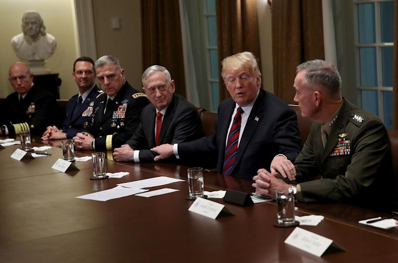 President Trump during a meeting with U.S. military leaders in 2018 | Win McNamee—Getty Images