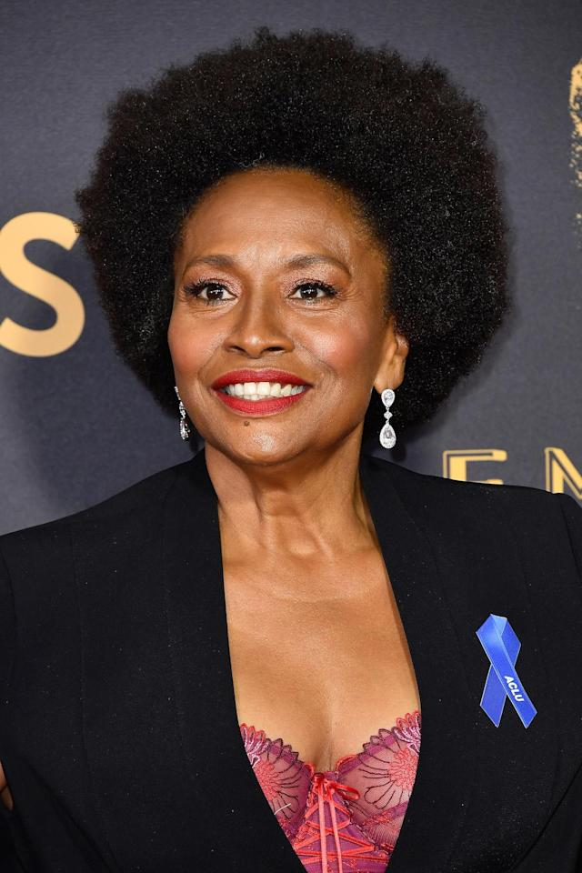 <p>Jenifer Lewis looked angelic with her tight coils and vibrant red lipstick. (Photo: Frazer Harrison/Getty Images) </p>