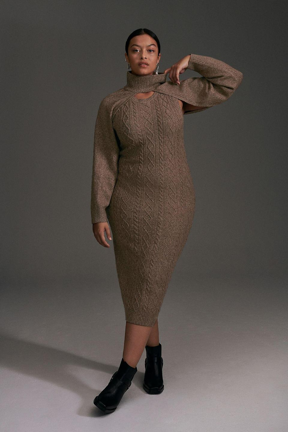 """<h2>Current Air Cable-Knit Sweater Dress Set <br></h2><br><strong>Best Plus-Size Cable Knit Sweater Dress </strong><br><em>Size Range: 1X-3X</em><br><br>Not only is this dress soft and comfortable, but it screams sophistication. The removable shrug also gives you two looks for the price of one.<br><br><br><em>Shop <a href=""""https://go.skimresources.com/?id=30283X879131&isjs=1&jv=15.2.0-stackpath&sref=https%3A%2F%2Fwww.refinery29.com%2Fen-us%2Fplus-size-sweater-dresses%23slide-1&url=https%3A%2F%2Fwww.anthropologie.com%2Fshop%2Fcable-knit-sweater-dress-set%3Fcategory%3Dplus-size-dresses%26color%3D026%26quantity%3D1%26type%3DPLUS&xguid=01ERGDHBXNJ489J9KBAH8RZJH0&xs=1&xtz=240&xuuid=13a7fbd9948972339c551d8b8235af4b&xjsf=other_click__contextmenu%20%5B2%5D"""" rel=""""nofollow noopener"""" target=""""_blank"""" data-ylk=""""slk:Anthropologie"""" class=""""link rapid-noclick-resp""""><strong>Anthropologie </strong></a></em><br><br><strong>Current Air</strong> Cable-Knit Sweater Dress Set, $, available at <a href=""""https://go.skimresources.com/?id=30283X879131&url=https%3A%2F%2Fwww.anthropologie.com%2Fshop%2Fcable-knit-sweater-dress-set%3Fcategory%3Dplus-size-dresses%26color%3D026%26quantity%3D1%26type%3DPLUS"""" rel=""""nofollow noopener"""" target=""""_blank"""" data-ylk=""""slk:Anthropologie"""" class=""""link rapid-noclick-resp"""">Anthropologie</a>"""