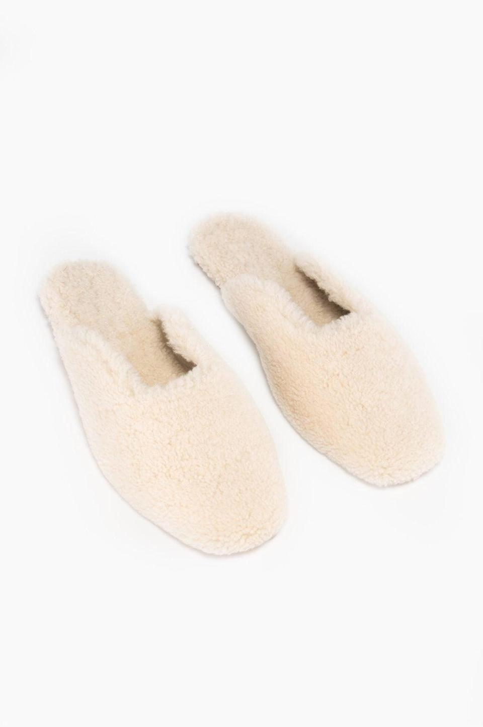 """<p>""""I'm still not over my cozy phase and anyone who knows me knows I'm obsessed with anything fluffy. After searching high and low for new house slippers, I couldn't help but fall in love with <span>Sleeper's Cream Shearling pair</span> ($290). They're cozy and chic, so what else is there to ask for?"""" - Krista Jones, associate editor, Shop</p>"""