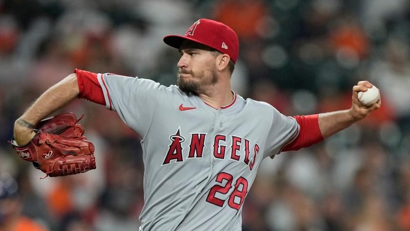 Los Angeles Angels starting pitcher Andrew Heaney throws against the Houston Astros during the first inning of a baseball game Friday, April 23, 2021, in Houston. (AP Photo/David J. Phillip)