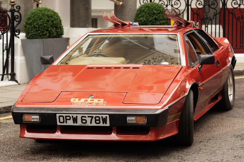 "LONDON, ENGLAND - JULY 08: A Lotus Turbo Esprit car from the 1981 James Bond film ""For Your Eyes Only"" is displayed for sale on July 8, 2009 in London. An auction of collectors items including The 007 Collection will be offered for sale at Coys 2009 at Blenheim Palace on July 18, 2009. The car is expected to fetch GPB90,000 - GPB100,000. (Photo by Peter Macdiarmid/Getty Images)"