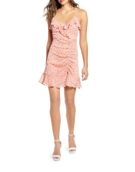 "Normally $49, this <a href=""https://yhoo.it/2VZ3nLD"" rel=""nofollow noopener"" target=""_blank"" data-ylk=""slk:Callie Ruffle Minidress"" class=""link rapid-noclick-resp"">Callie Ruffle Minidress</a> is <a href=""https://yhoo.it/2VZ3nLD"" rel=""nofollow noopener"" target=""_blank"" data-ylk=""slk:on sale for $22 at Nordstrom."" class=""link rapid-noclick-resp"">on sale for $22 at Nordstrom.</a>"