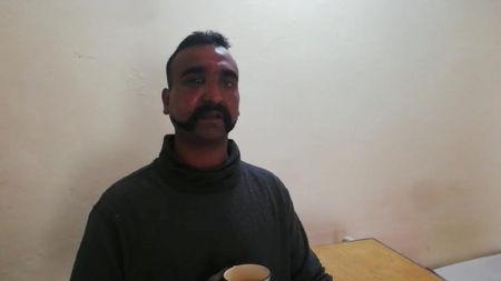 Indian pilot Wing Commander Abhinandan captured by Pakistan is seen in this handout photo released February 27, 2019. Inter Service Public Relation (ISPR) Handout via REUTERS