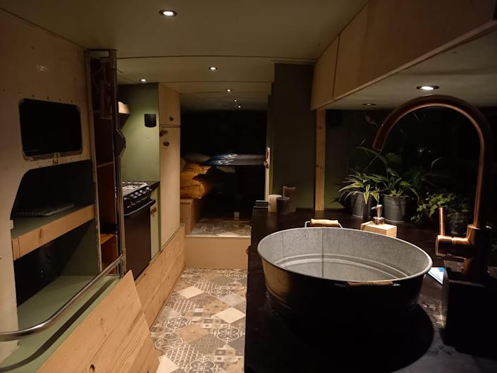 the renovated kitchen sink aboard the double decker bus