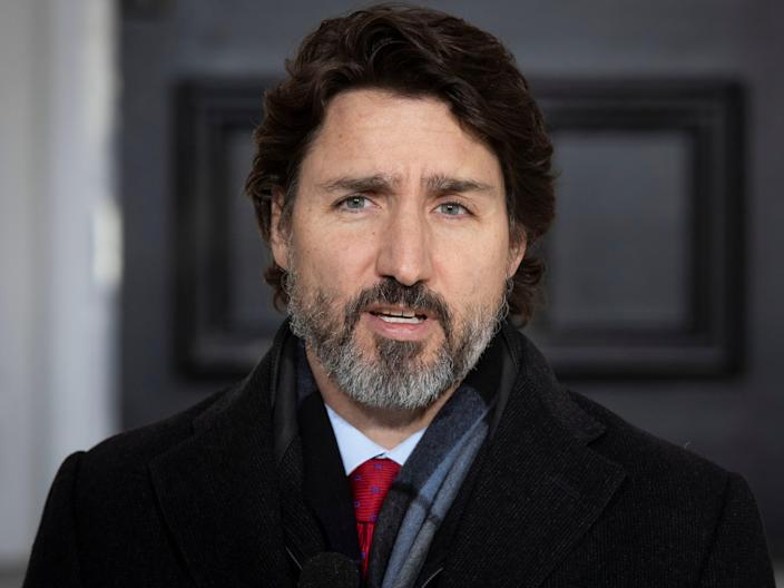 Canadian Prime Minister Justin Trudeau speaks during a Covid-19 briefing at the Rideau Cottage in Ottawa, Ontario, on December 18, 2020. (AFP via Getty Images)