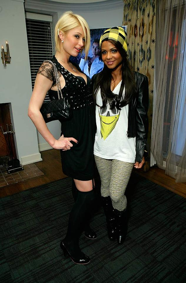 "Paris Hilton and Christina Milian sport sexy rock 'n' roll looks for the soiree, but what's up with Christina's hat? Did she think she was going camping? Todd Williamson/<a href=""http://www.wireimage.com"" target=""new"">WireImage.com</a> - September 16, 2007"