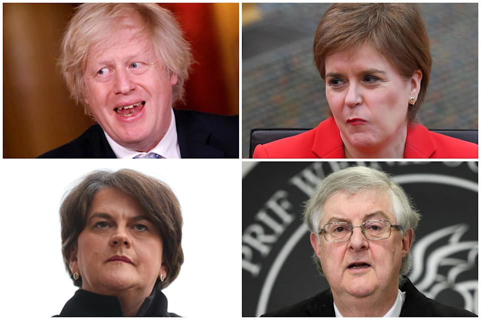Clockwise from top left, the leaders who have set out how their nations will leave lockdown: Boris Johnson, Nicola Sturgeon, Mark Drakeford and Arelene Foster. (Getty Images)