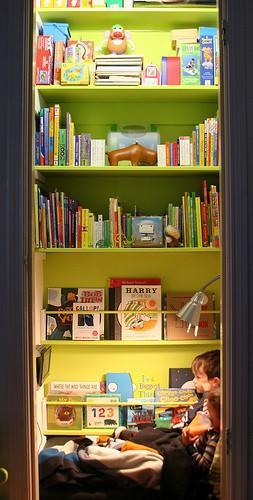 """<div class=""""caption-credit""""> Photo by: Little Hell Raiser</div><div class=""""caption-title"""">In a Closet</div>Take the doors off a closet and convert it into a cozy reading nook instead! Your kids can channel their inner Harry Potter feeling homey in their closet room with books and books in hand and overhead. <br> <i><a rel=""""nofollow noopener"""" href=""""http://blogs.babble.com/family-style/2012/08/13/25-cute-and-cozy-kids-reading-nooks/#in-a-closet"""" target=""""_blank"""" data-ylk=""""slk:Get the inspiration here"""" class=""""link rapid-noclick-resp"""">Get the inspiration here</a></i> <br>"""
