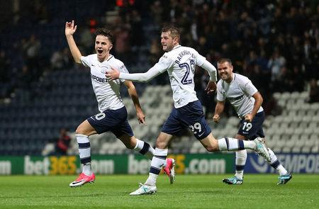Soccer Football - Championship - Preston North End vs Cardiff City - Deepdale, Preston, Britain - September 12, 2017   Preston North End's Josh Harrop celebrates scoring their first goal with team mates    Action Images/John Clifton