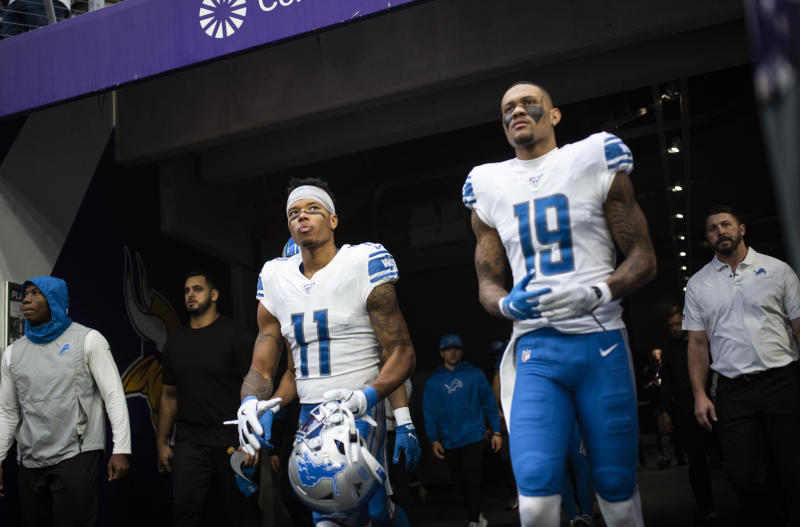 MINNEAPOLIS, MN - DECEMBER 08: Marvin Jones #11 of the Detroit Lions and Kenny Golladay #19 of the Detroit Lions take the field before the game against the Minnesota Vikings at U.S. Bank Stadium on December 8, 2019 in Minneapolis, Minnesota. (Photo by Stephen Maturen/Getty Images)