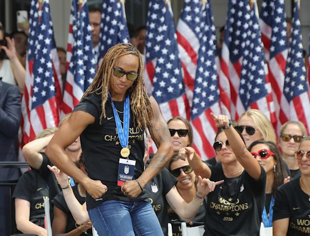 """Jessica McDonald of the United States Women's National Soccer Team is honored at a ceremony at City Hall on July 10, 2019 in New York City. The honor followed a ticker tape parade up lower Manhattan's """"Canyon of Heroes"""" to celebrate their gold medal victory in the 2019 Women's World Cup in France. (Photo by Bruce Bennett/Getty Images)"""