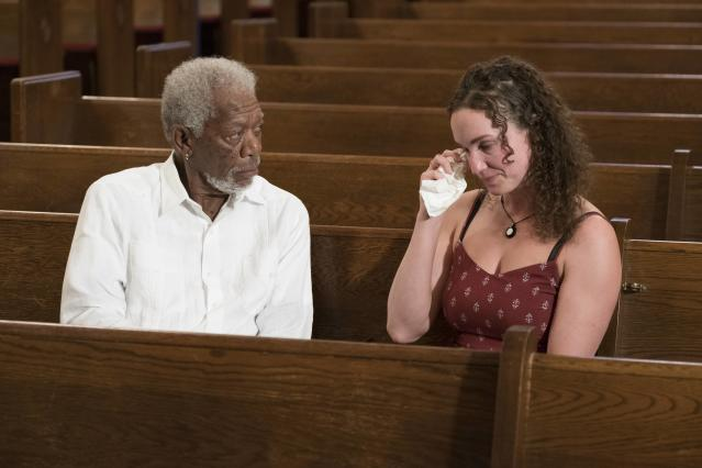 Morgan Freeman meets with Megan Phelps-Roper, former Westboro Baptist Church social media manager, who explains how she turned her back on the church. (Photo: Justin Lubin/National Geographic)