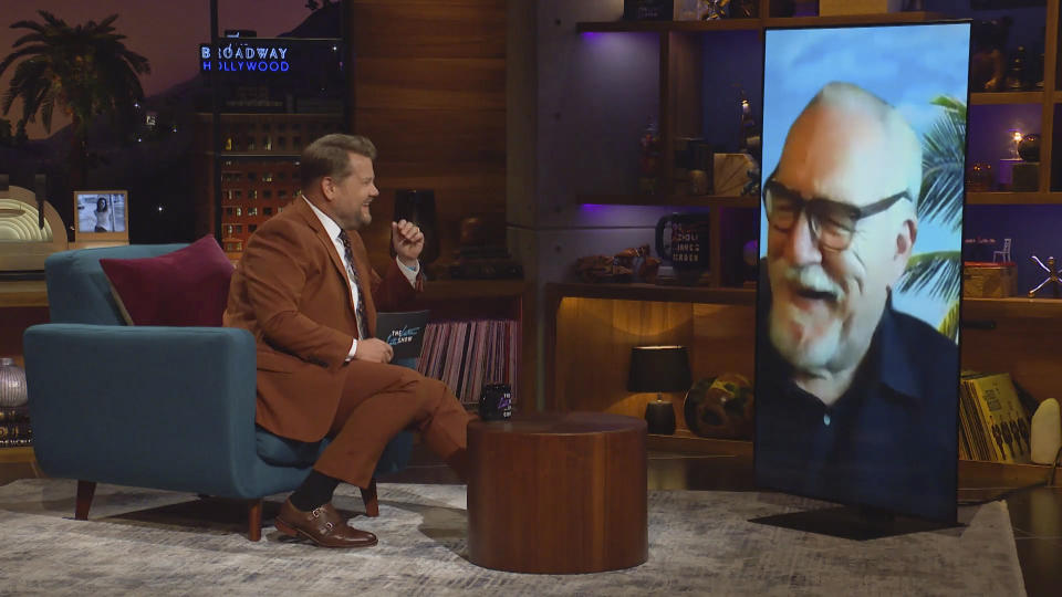 LOS ANGELES - AUGUST 12: James chats with Brian Cox on THE LATE LATE SHOW WITH JAMES CORDEN, scheduled to air Wednesday, August 12, 2020 (12:37-1:37 AM, ET/PT) on the CBS Television Network. Image is a screen grab. (Photo by CBS via Getty Images)