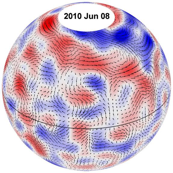 This image depicts giant plasma cell flow paths on the sun for June 8, 2010. The underlying cell pattern shows westerly winds in red and easterly winds in blue.