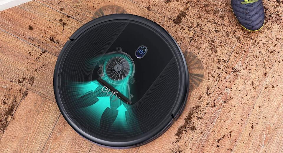 The Eufy BoostIQ RoboVac 30 makes short work of dirt.