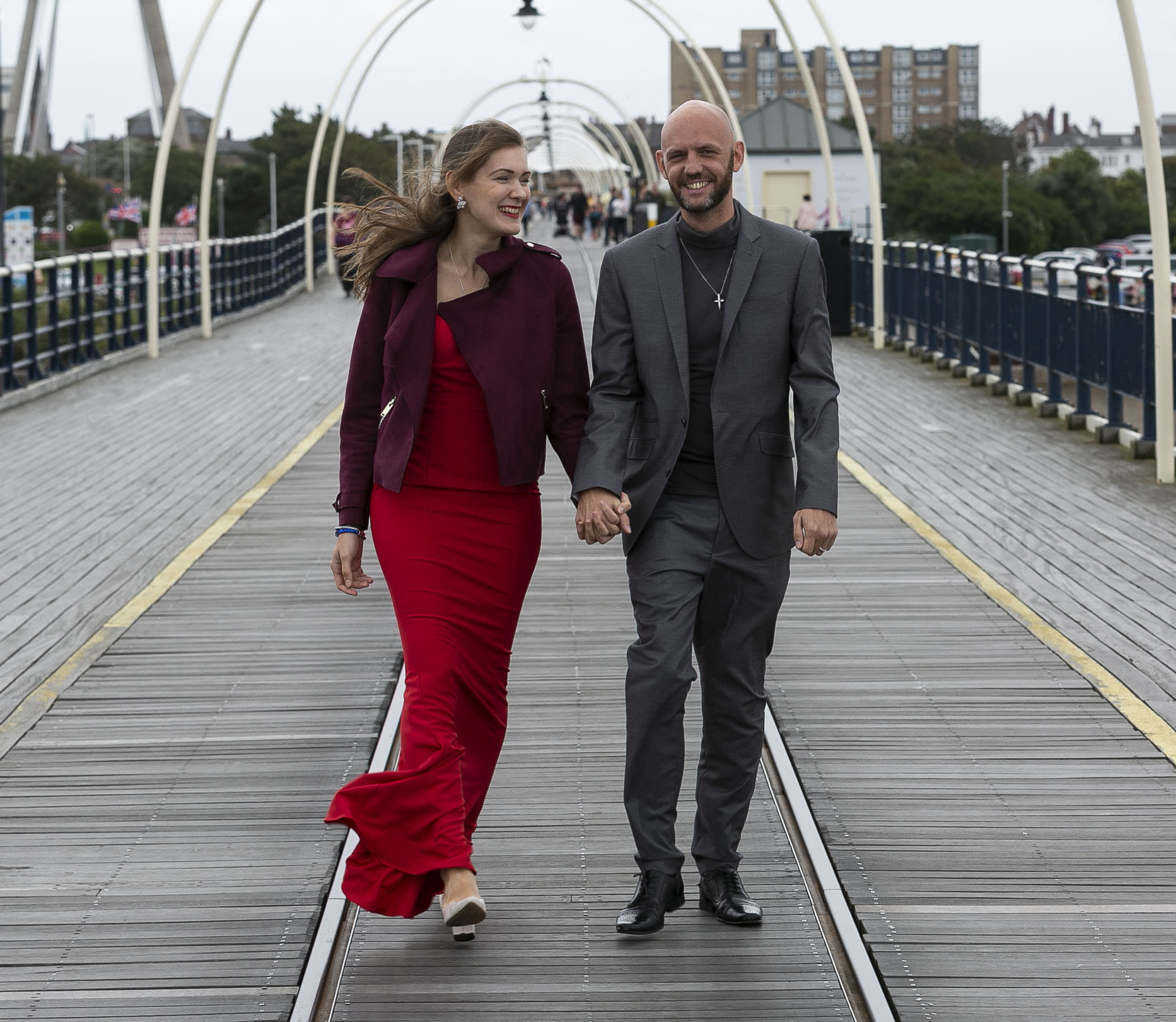 Christopher Rimmer and Viktorija Vakulenko, both 34, met through an app called Christian Dating for Free. [Photo: SWNS]