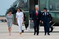 On 27 July, Melania Trump dressed in head-to-toe white opting for a pair of straight cut jeans and a shirt with rolled up sleeves. For a pop of colour, the First Lady accessorised the look with a pair of her go-to Manolo Blahnik BB pump in punchy yellow with a co-ordinating handbag in tow. [Photo: Getty]
