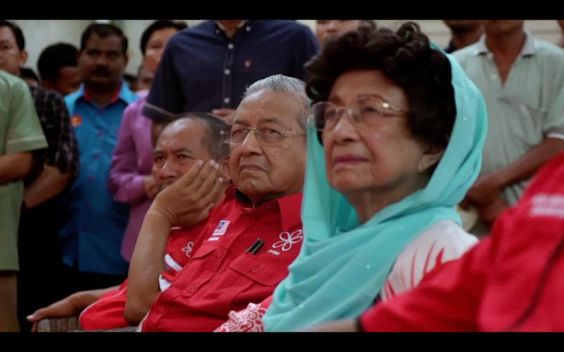 Tun Dr Mahathir Mohamad and his wife Tun Dr Siti Hasmah Mohamad Ali monitoring the election result on May 9, 2018. — Picture courtesy of 'M for Malaysia'