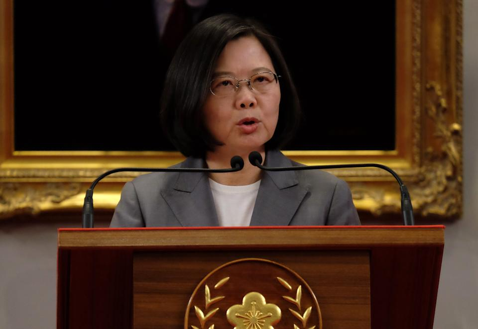 Taiwan's President Tsai Ing-wen speaks during a press conference at the Presidential Office in Taipei on August 21, 2018. - China and El Salvador established diplomatic relations on August 21 as the Central American nation ditched Taiwan in yet another victory for Beijing in its campaign to isolate the island. (Photo by SAM YEH / AFP)        (Photo credit should read SAM YEH/AFP/Getty Images)