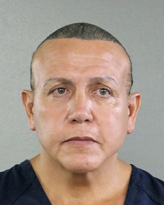 <p>In this undated photo released by the Broward County Sheriff's office, Cesar Sayoc is seen in a booking photo, in Miami. Federal authorities took Cesar Sayoc, 56, of Aventura, Fla., into custody Friday in Florida in connection with the mail-bomb scare that earlier widened to 12 suspicious packages, the FBI and Justice Department said. (Photo: Broward County Sheriff's Office via AP) </p>