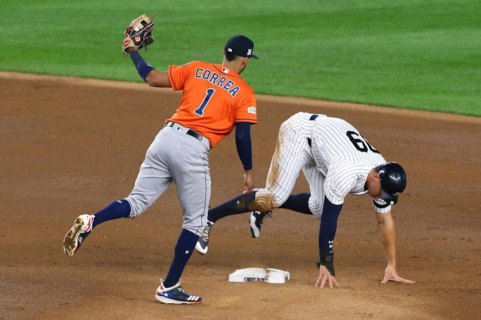 Aaron Judge forgot to touch second base and then things got weird. (Getty Images)