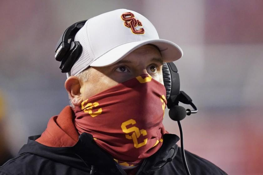 Southern California head coach Clay Helton looks on in the first half during an NCAA college football game against Utah, Saturday, Nov. 21, 2020, in Salt Lake City. (AP Photo/Rick Bowmer)