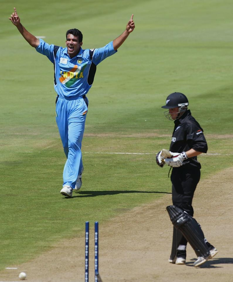 CENTURION - MARCH 14:  Brendon McCullum of New Zealand is bowled out by Zaheer Khan of India during the ICC Cricket World Cup Super Six match between New Zealand and India held on March 14, 2003 at Supersport Park in Centurion, South Africa.  India won the match by 7 wickets. (Photo by Mike Hewitt/Getty Images)
