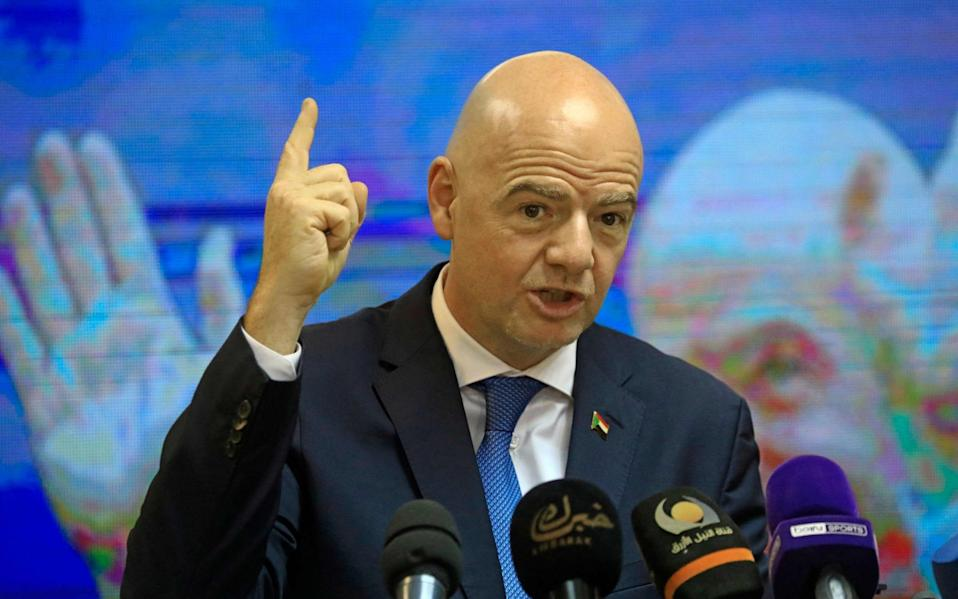 FIFA President Gianni Infantino holds a press conference at the headquarters of Sudan Football Association - AFP