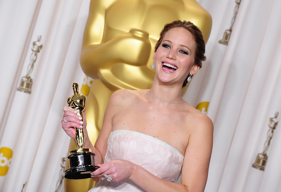 Jennifer Lawrence with her award for Best Actress received for her role in Silver Linings Playbook at the 85th Academy Awards at the Dolby Theatre, Los Angeles.   (Photo by Ian West/PA Images via Getty Images)