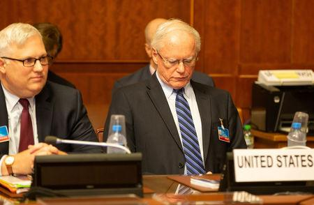 FILE PHOTO: U.S. special envoy for Syria James Jeffrey (R) attends a meeting during the consultations on Syria, at the European headquarters of the United Nations in Geneva